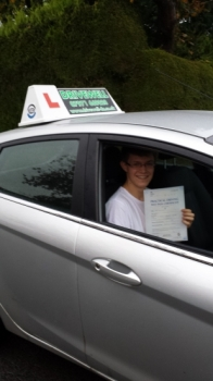 Jack Shilling proudly holding his Pass Certificate on a wet day after passing first time today.  The examiner complimented him on a nice safe drive with 4 driver faults.  A well deserved reward for having such a positive and enthusiastic attitude to learning and any challenges he faced always giving 100%.  Congratulations and well done again.  Look...