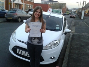 Jemma Stocks proudly holding her Pass Certificate after a super drive with 2 driver faults.  The examiner was complimentary about Jemma, Salvina and Drivewell, which was great.